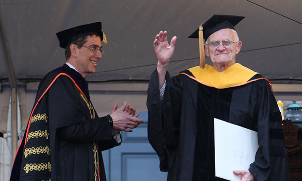 David Billington '50, right, with President Eisgruber '83 at Commencement. (Beverly Schaefer)