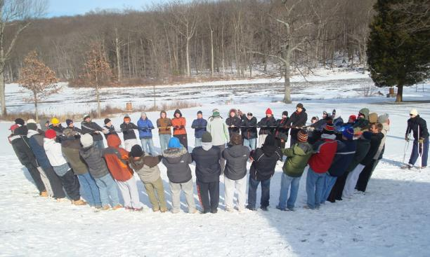 Visitors also use the center for team-building retreats. Here, the Princeton men's lacrosse team participates in a yurt circle.
