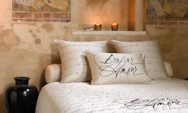 "Bed linen designs for Slabbinck Home Creations, Bruges, Belgium. Calligraphy woven into damask linen/cotton blend.  The text on the bed linens is Shakespeare's Sonnet 18, ""Shall I compare thee to a summer's day...""  On the pillow case are the word"