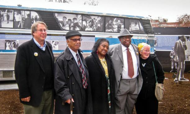 Raymond Arsenault '69, far left, with Freedom Riders at a 50th-anniversary celebration in March.