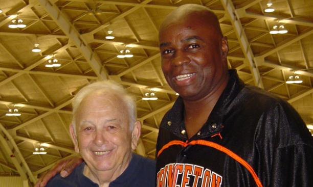 Brian Taylor '84 with Pete Carril during a recent visit to Jadwin Gym.