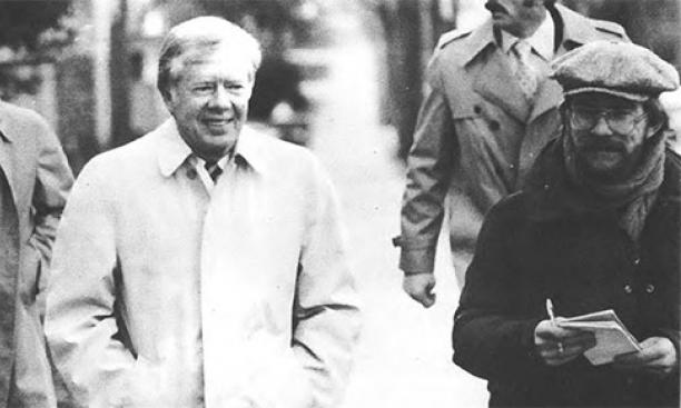 Jimmy Carter tours the campus with help from guide/reporter Kirk Petersen '80, right. (Daily Princetonian Archives)