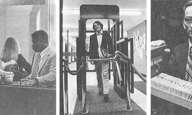 "Images from PAW's 1978 story on theft at Princeton libraries, from left: A library guard served as ""a reminder to be honest""; new security measures included electronic scanners; librarian Peter Cziffra shows tabs in the card catalog that in"