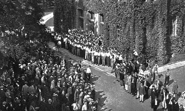 The Dickinson Rush, an annual clash between the sophomores and freshmen (in this case, the classes of 1914 and 1915).