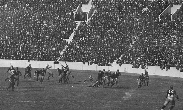 The Princeton-Harvard football game in 1914, Palmer Stadium's opening season.