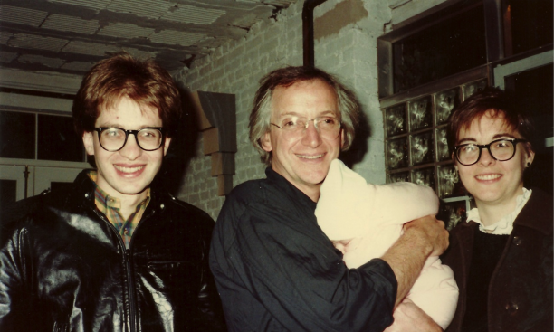 From left, Benjamin Kracauer *79, Michael Graves, holding Emily Kracauer, and Cynthia Phifer Kracauer '75 *79, at the Warehouse in 1982.