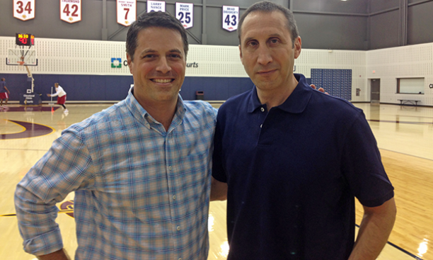 Nick Guthe '91, left, with Cleveland Cavaliers coach David Blatt '81, one of several Princeton basketball alumni featured in The Billion Dollar Game. (Courtesy Nick Guthe)