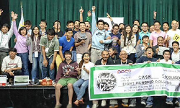 Participants gathered for a photo after the Hack the Climate awards ceremony. (Courtesy Hack the Climate, Manila/Elaine Cedillo)