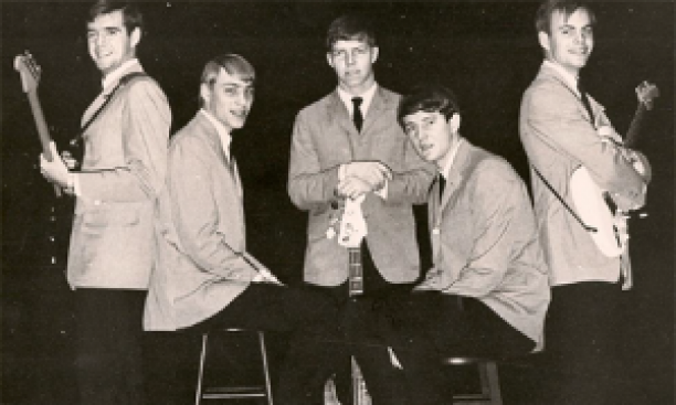 Randy Hobler '68, left, with his undergraduate bandmates Marty Faletti '68, Bill McCabe '67, Kit Hinsley '67, and Pete Stockman '68. (Courtesy Randy Hobler)