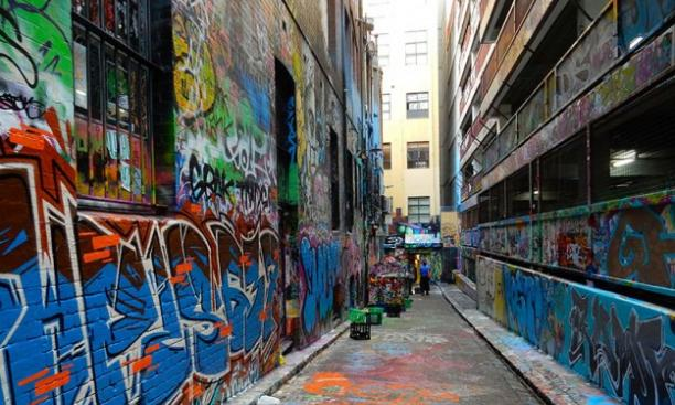 Hosier Lane is a popular locale in Melbourne's street-art scene. (Courtesy Maggie Zhang '16)
