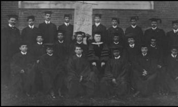 1904 Lincoln University graduating class with President Isaac Norton Rendall 1852, center.