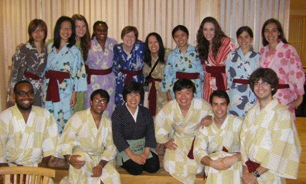 Students dressed in traditional Japanese yukata for dinner at the Houraikan inn in Kamaishi.