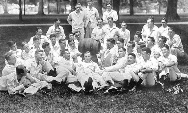 The Class of 1914 before graduation.