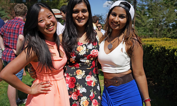 From left, Kelly Zhou '17, Jinal Patel '17, and Kamini Persaud '17
