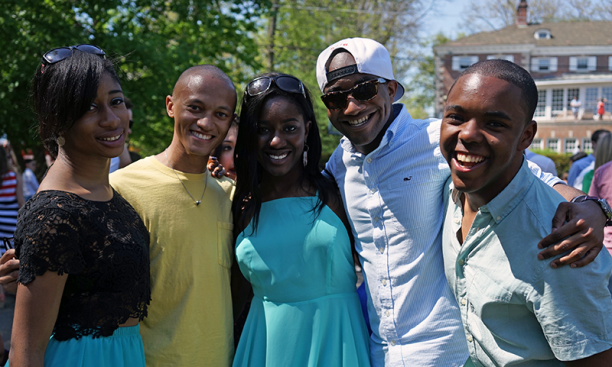 From left, Ijeoma Madubata '15, Lorenzo Laing '16, Sylvia Okafor '16, Jameil Brown '16, and Shawon Jackson '15