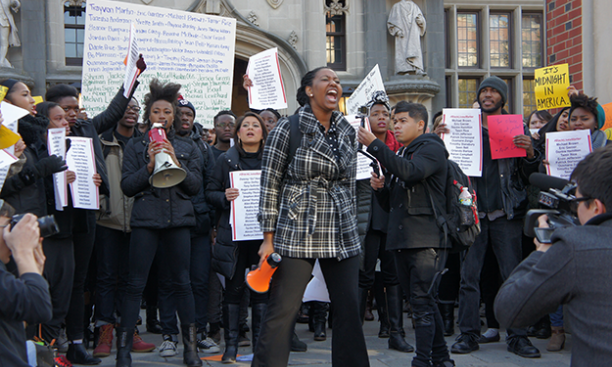 """Outside Frist Campus Center, Princeton students rallied against """"racialized state violence."""""""