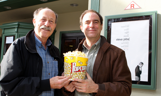 Professor Michael Littman, left, with PAW senior writer Mark F. Bernstein '83, says that Steve Jobs was a skilled designer, as well as a master of marketing. (Beverly Schaefer)