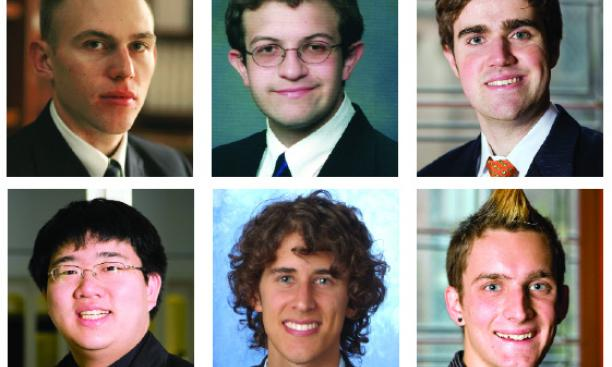 At top from left, Princeton scholars Stephen Hammer '09, Scott Moore '08, and Timothy Nunan '08. Bottom row, from left, Michael Shih '09, Michael Solis '07, and Alexander Barnard '09.