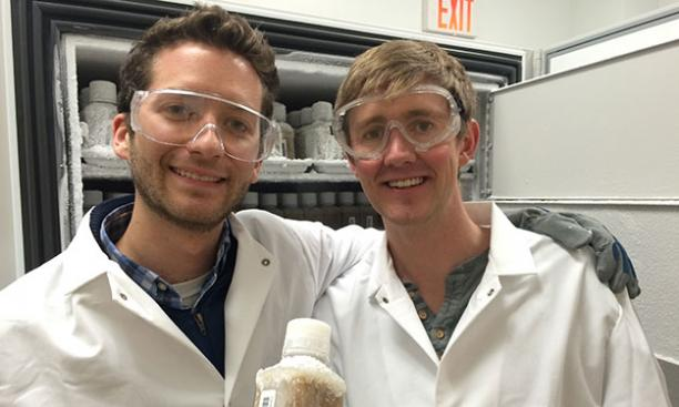 Mark Smith '09, left, and James Burgess '09. (Carolyn Edelstein '10/OpenBiome)