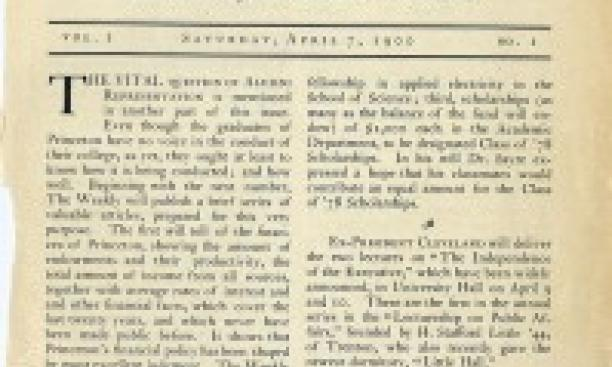 PAW's first issue — April 7, 1900. Click on the photo to read a PDF version.