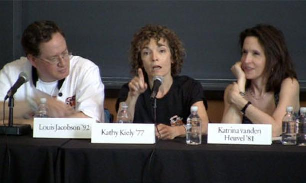 From left, Louis Jacobson '92, Kathy Kiely '77, and Katrina vanden Heuvel '81, panelists from the Princeton Alumni Weekly sponsored PAW-litics panel at Reunions 2012.