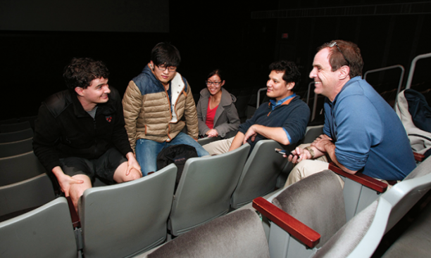 From left, Daniel Vitek, Congling Qiu, Alta Fang, and Florian Sprung spoke with PAW's Mark F. Bernstein '83 about their impressions of Ph.D. Movie 2. (Frank Wojciechowski)