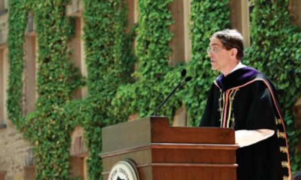 Addressing Princeton's newest graduates during the Commencement ceremony in front of Nassau Hall.