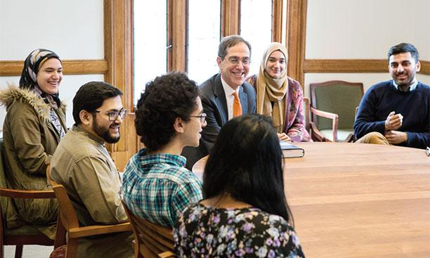 Meeting with Imam Sohaib Sultan (second from left) and Muslim students and alumni (Photo by Denise Applewhite)