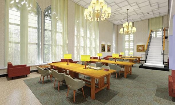 The Firestone Library renovation includes the creation of stunning new spaces, such as the third-floor reading room shown in this rendering.