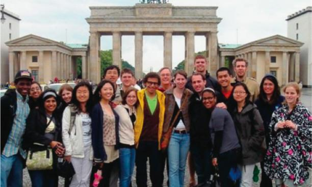 Princeton-in-Munich students gather in front of Berlin's Brandenburg Gate with their academic director, German department chair Michael Jennings (back row, center).