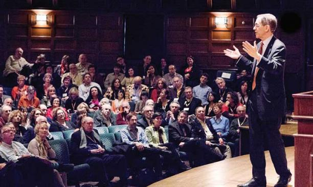 Talking with L'Chaim conference participants in Richardson Auditorium on April 15, 2016. (Photo by Denise Applewhite)