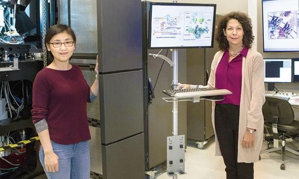 Professors Nieng Yan (left) and Bonnie Bassler (right) are shown here at the new cryo-EM facility