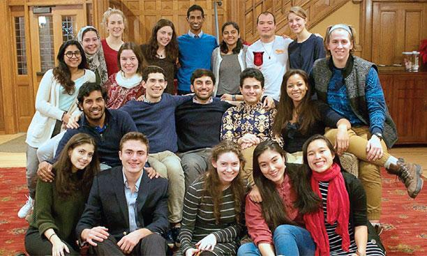 Student members of the interfaith Religious Life Council gather in Murray-Dodge Hall.