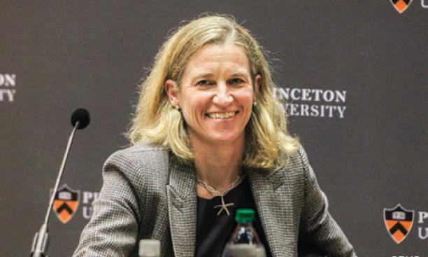 Mollie Marcoux '91, Princeton's new Ford Family Director of Athletics, at her introductory press conference.