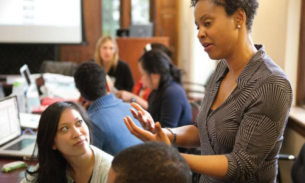 Associate Professor of Psychology and African American Studies Stacey Sinclair, shown here talking with students in a course on prejudice and social stigma, is among many Princeton faculty members whose teaching and research investigate issues of race and