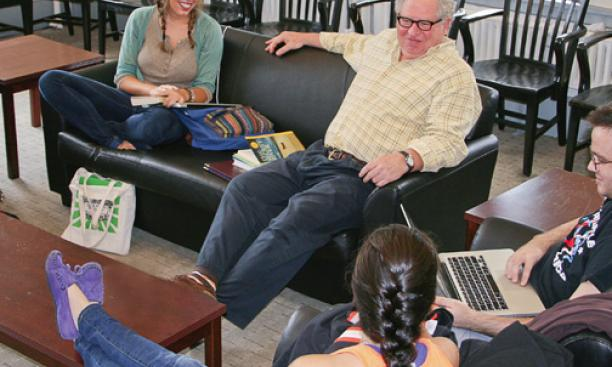 "Michael Cadden, chair of the Lewis Center for the Arts, meets with students in his course, ""Special Topics in Performance History and Theory – Performing Australia."""