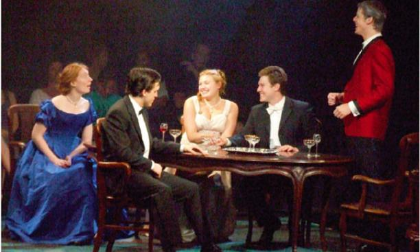 A scene from J. B. Priestley's An Inspector Calls. From left to right are Heather May '10; John Hardin, New York University; Tara Richter Smith, New York University; Tyler Crosby '09; and Aaron Strand, New York University.