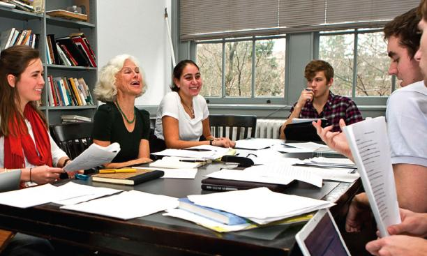 "Novelist and Lecturer in Creative Writing Sheila Kohler at work with students in ""Introduction to Fiction."""