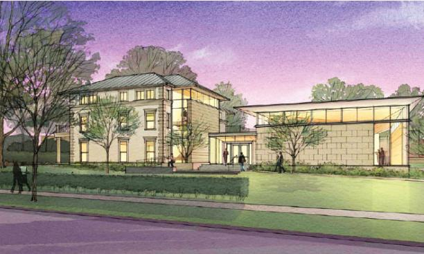 Architect's rendering of a renovated and expanded Elm Club, soon to be the home of the Fields Center and Community House.