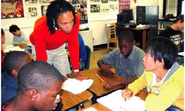 David Ponton '09 at work with students at Ewing High School in New Jersey.