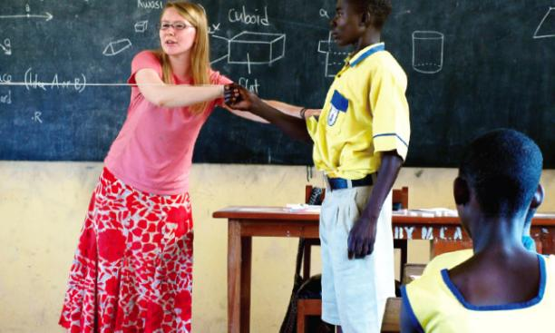 Bridge Year participant Jessica Haley '14 at work in a rural Ghanaian classroom.