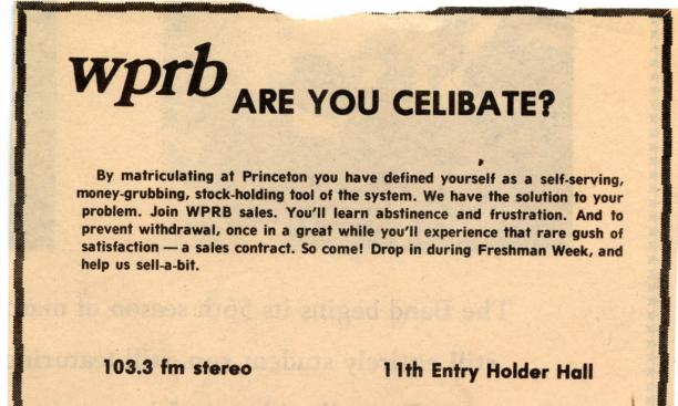 WPRB Freshman Recruiting Ad in the Prince, 1976: Voices vs. Invoices