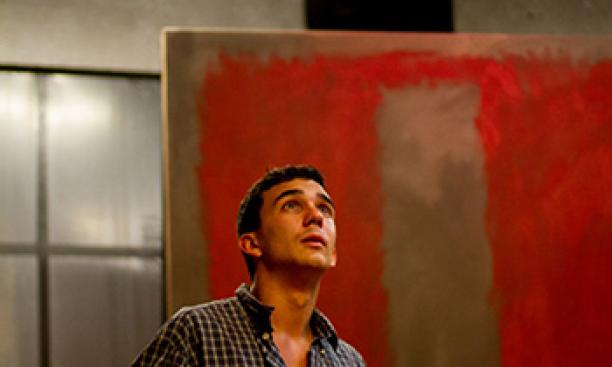 Ryan Gedrich '16 as Ken, assistant to the artist Mark Rothko, in Theatre Intime's production of Red. (Aleka Gürel '15)
