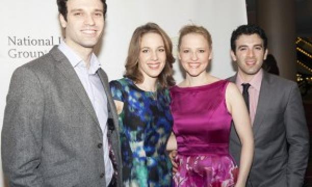 Jarrod Spector '03, far right, with Beautiful castmates, from left, Jake Epstein, Jessie Mueller, and Anika Larsen. (Lev Radin/Shutterstock.com)