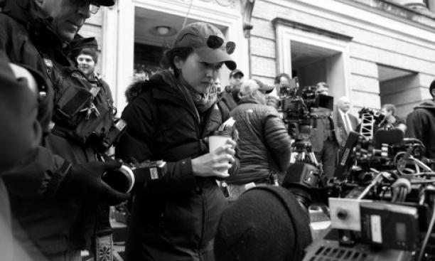 Director Mora Stephens '98 on the set of her new film, Zipper. (Hilary Bronwyn Gayle)