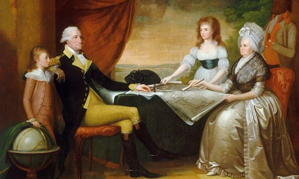 The Washington Family, by Edward Savage, part of the Mellon Collection at the National Gallery of Art, shows the first president with wife Martha, her granddaughter Eleanor, and grandson George Washington Parke Custis, then 10 years old.