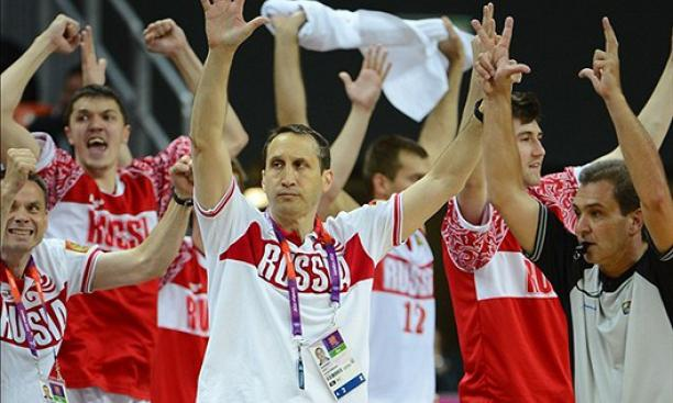 Aug. 4: Russia men's basketball coach David Blatt celebrates a three-pointer late in his team's preliminary win over Spain. Blatt's team eventually earned bronze, Russia's first medal in the event since the dissolution of the Soviet Union.