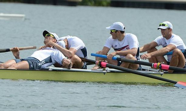 Aug. 4: Princeton captured a fourth medal on the water in the men's four when Glenn Ochal '08, left, and the United States won bronze. Ivy Leaguers combined to win 15 medals in London, 12 of them in rowing.