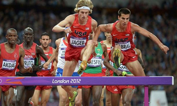Aug. 5: Donn Cabral '12, right, and U.S. teammate Evan Jager led the pack early in the Olympic men's steeplechase final. Cabral placed eighth in the 15-athlete field, seven seconds behind gold medal winner Ezekiel Kemboi of Kenya.