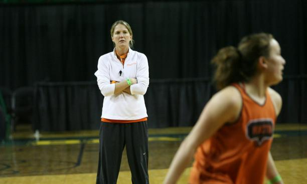 Princeton coach Courtney Banghart oversees practice. In just six seasons, she has won 117 games — second best in program history.